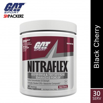 GAT Nitraflex 30 servings Pre Workout and Testosterone Booster - Black Cherry